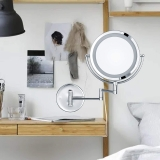 IP44 Protection, LED Lighted 5X Magnifying Shaving Mirrors Wall Mounted for Bathroom Double Sided Makeup Mirrors with Sensor Adjustable Light Extendable Arms Plug Powered Chrome 220V - UK and UAE